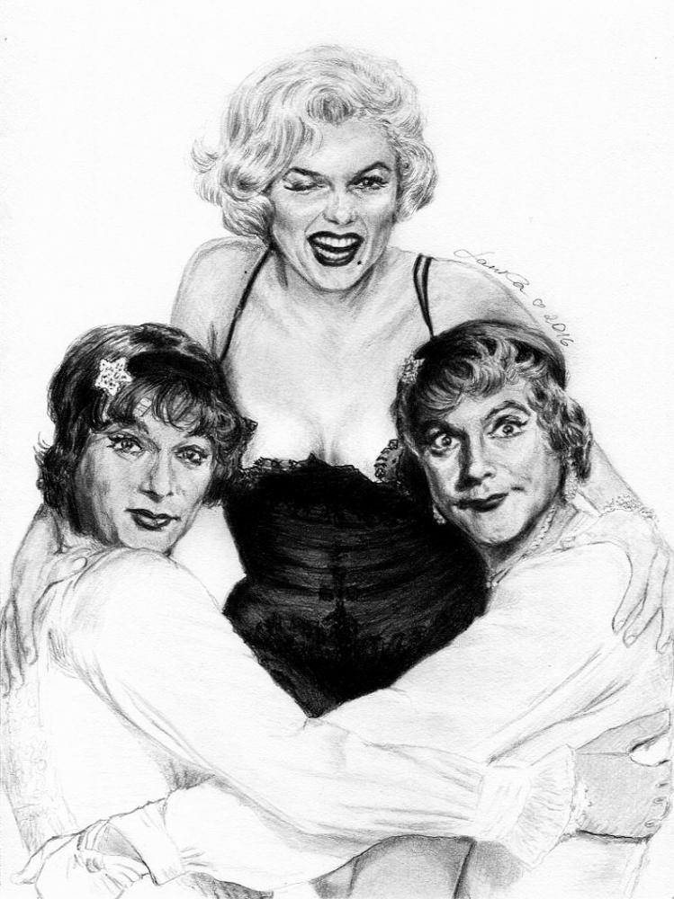 Marilyn Monroe, Tony Curtis, Jack Lemmon por Lanka